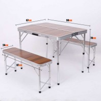 Складной стол со скамейками бамбук  Mimir CH 007A-90
