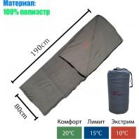 Спальный мешок флисовый арт.ZRSD +10 градусов летний. серый