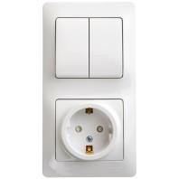 Блок: розетка с заземлением со шторками + выключатель двухклавишный белый (GSL000174)