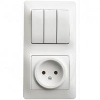 Блок: розетка + выключатель трехклавишный белый (GSL000176)