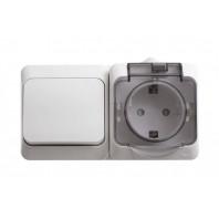 Блок Выключатель одноклавишный/Розетка наружная с заземлением со шторками IP44 белый (BPA16-241B)