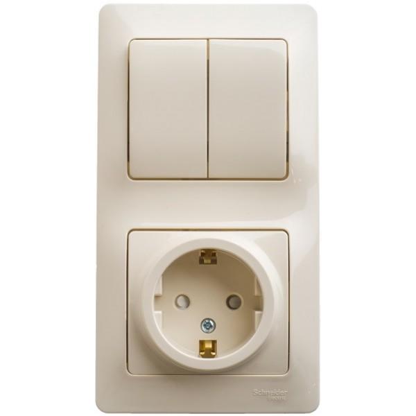 Блок: розетка с заземлением со шторками + выключатель двухклавишный бежевый (GSL000274)