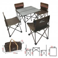 Набор мебели складной стол и 4 стулями Mimir MIMIR-4B1 в оригинальной этнической расцветке